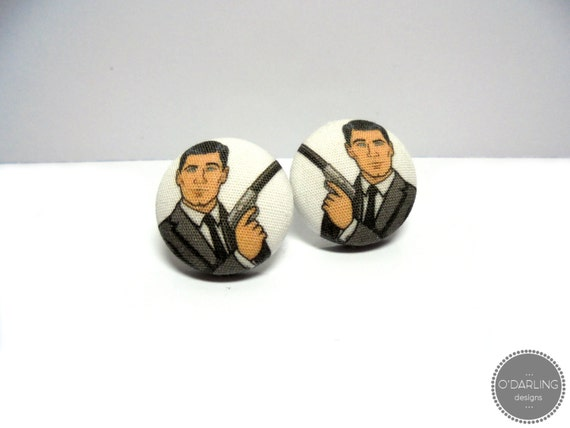 Archer Fabric Button Earrings