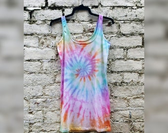 Pastel Rainbow Tie Dye Tank Top Long Vest ALL SIZES Festival Hippie LGBT Clothing Pastel Goth Yoga Top