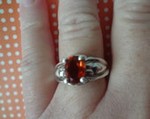 Silver Ring Orange Amber Like Stone 925 Sterling Silver Gift Birthday Crystal Rhinestones Size 8 3/4 Anniversary Fall Color Wear  Yellow