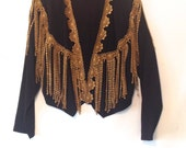 vintage 1980s fringe jacket black and gold fringe jacket 80s black jacket size Small jacket 80s fashion Michael Jackson style jacket