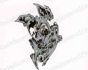 Cute Drawing of an Abstract Bat with Geometric Circles! Detailed Ink Illustration with Organic Elements is One of a Kind! Enjoy!