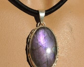 Purple Labradorite Pendant AA Gem Quality in Sterling Silver 43x27x10 MM