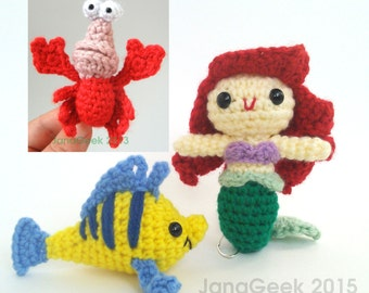 Little Mermaid, Crabby Friend, and Fishy Friend Amigurumi Doll Crochet Patterns Discount Bundle