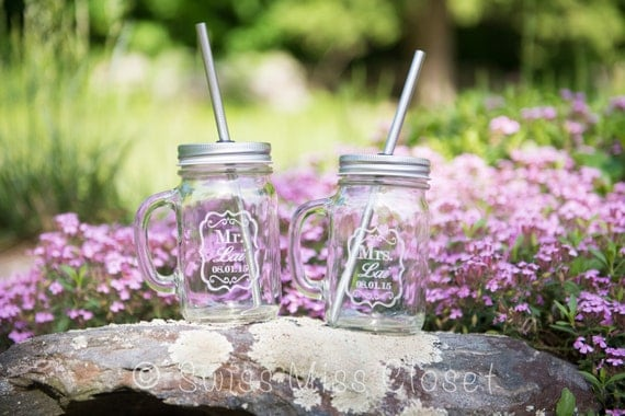 Mr. & Mrs. Set 2 Handled Mason Jar To Go Cup 16oz Eco Friendly
