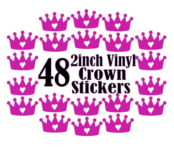 48 2 inch Vinyl Crown Stickers, Envelope Seals, Party Favors, Party Glasses, Unlimited Possibilities