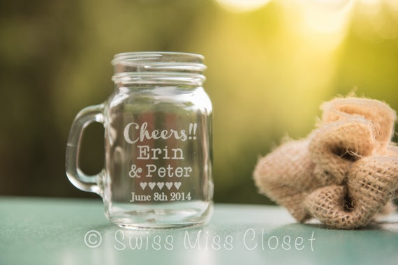 SALE!!!  24 Custom Etched Mini Mason Jar Shot Glass Personalized  Wedding Favor Groom's Men Gift
