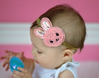 Easter Bunny Headband Baby Headband Shabby Headband Toddler Girl Rabbit