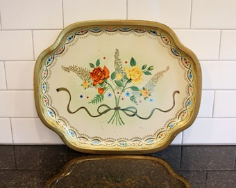 Nosegay Tray... Vintage Metal Serving Tray - Floral Design, Red, Yellow, Cream & Gold; Baret Ware, Made in England, 1960s