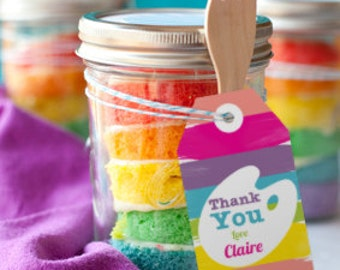 Art Party Favor Tags - Thank You Tags - Art Party Printables - Instant Download and Edit File at Home with Adobe Reader