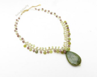 Green drop necklace with crystal on gold silk thread, drop stone pendant, green brown necklace