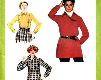 70's Women Pullover Shirts Blouse Sewing Pattern Size 12 Bust 34 Removable Plastron Vintage Simplicity 9700 Uncut Factory Folds