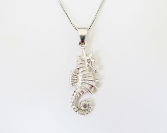 Sterling Silver Seahorse Necklace Vintage Beach Jewelry Women's Jewelry