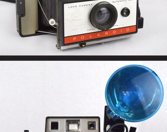 1960s Polaroid 220 Automatic Land Camera with Flash, Flashbulb and Original Case