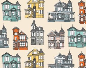 Original Fabric - San Francisco Victorian - Colorful, Rainbow, House Print, Antique, Vintage
