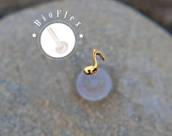 TINY MUSIC NOTE 16 gauge tragus earrings gold plated silver bioflex, helix, Conch, tragus, music note earring, stud earrings, labret *