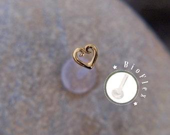 TRAGUS Gold HEART 16 gauge/ BioFlex/ 24k gold plated/ Sterling silver/ tragus earring/labret earring/heart tragus/ cartilage earring/ helix