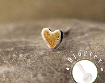 TRAGUS or LABRET or CARTILAGE /Gold Heart/ 5mm/ 24k Gold Plated/ Piercing/ Rook/ Conch/ Medusa/ Labret earring/ Medusa piercing