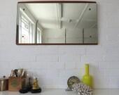 Vintage Extra Large Danish Teak Wall Mirror Mid Century Modernist Mirror