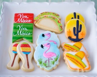 12 Vegan Fiesta Themed Sugar Cookies