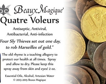 Quatre Voleurs ~ Four Thieves, Antiseptic, Antiviral, Antibacterial, Anti-infection, uncrossing, Road Opener, Banishing, désinfectant