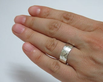 Silver Repousse Wedding Band - Hammered Silver Wedding Ring