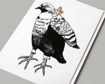 Art Card, Whimsical, Pigeon, Bird, Illustration, Pigeon Card, Birthday Card, Greeting Card, Arty Card, Art Greeting Card - Pigeon Ride