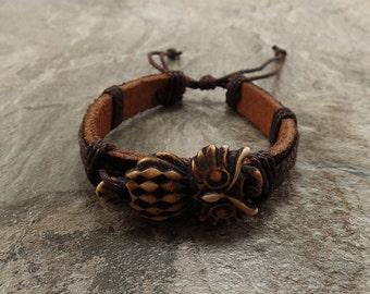 Brown Owl Bracelet - Owl Leather Bracelet - Handmade Brown Leather Bracelet