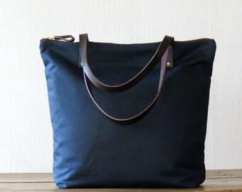 Waxed Canvas Bag Zip Tote Bag Navy Blue, Leather handles, Large Canvas Tote Shoulder Bag, Everyday Bag, Unisex Bag