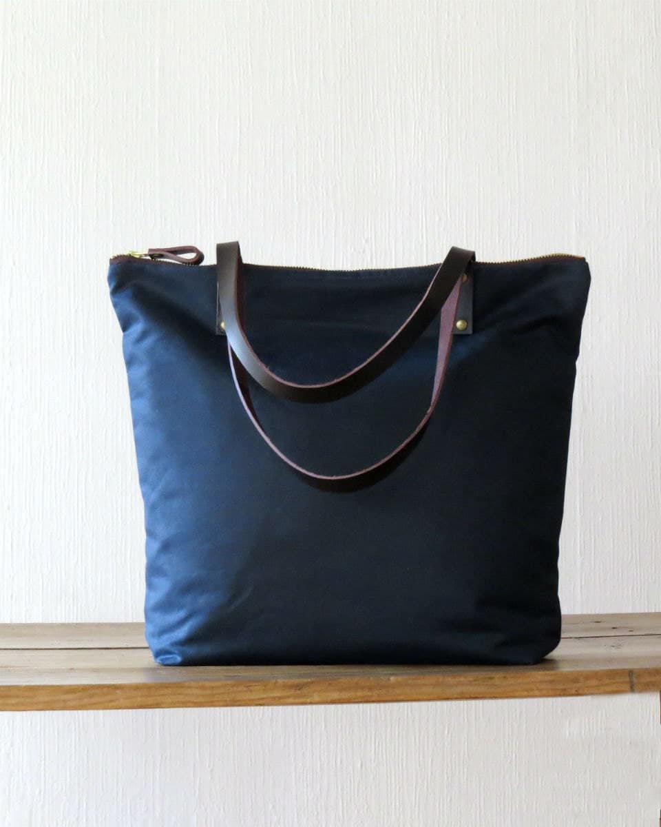 Waxed Canvas Bag Zip Tote Bag Navy Blue Leather handles