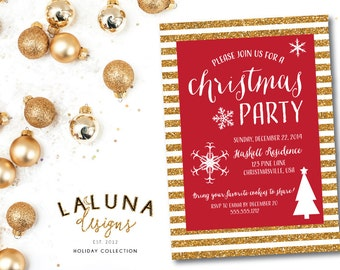Christmas Party Invitation, Christmas Party Invite, Glitter Christmas Party, Christmas Party Printable, Holiday Party, DIY Printable