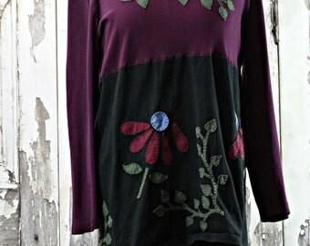 Hand Stitched,Alabama Chanin Style,Tshirt Tunic,Upcycled Clothing,Wearable Art,Boho Chic,Plus Size