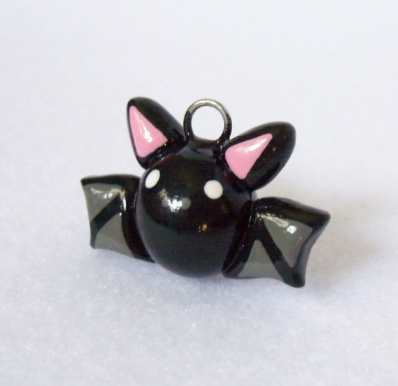 Cute Black Bat Charm - Handcrafted Polymer Clay Charm for Charm Bracelets, Earrings, Cell Phone Charm