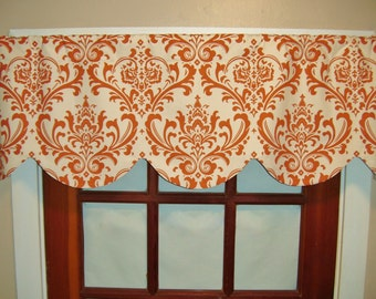 Scalloped Valance, Red, Blue, Orange, Window Valance, Shaped Premier Prints Traditions, Shabby Chic Valance, Lined Window Valance