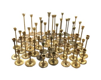 FREE SHIPPING! LOT 50 Vintage Brass Candlestick Candleholders - Graduated Tarnished Candle Holders Wedding Decor - Mid Century Modern