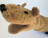 Brown Bear Hand Puppet Hand Knit Light Brown for Adult or Child Birthday Gift Present Toy Pretend Play
