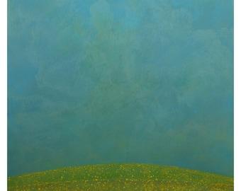 8x8 Art Print Sunny Blue Skies Green Grass Hill Pastel Painting Original Small Art Nursey or Childs Room Home Decor Abstract Minimalist