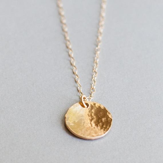 hammered gold disk necklace pendant medium hammered by folirin