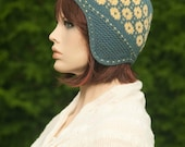 Knitted hat / cap, fair isle hat, jacquard, green-grey and yellow colors, for girls and women, woolen hat,