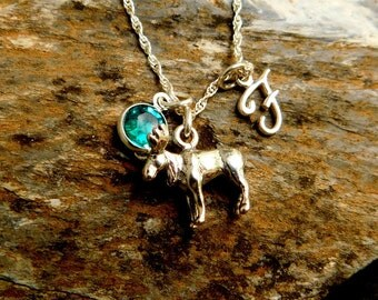 Sterling silver moose necklace, birthstone necklace, initial charm, personalized jewelry, wildlife necklace, game hunter