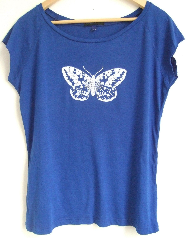 Womens Bamboo Organic Cotton Blue T Shirt White Moth Print