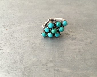 Vintage persian Turquoise and silver bamboo ring