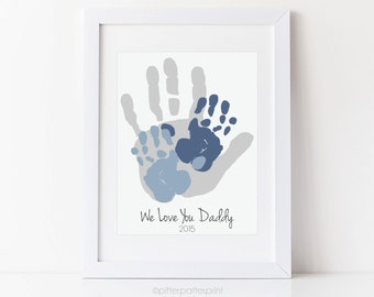 Father Gift, Personalized Child & Dad Handprint Art, Gift for Dad, Christmas, Valentines, Birthday, 8x10 inches Your Child's Hands, UNFRAMED