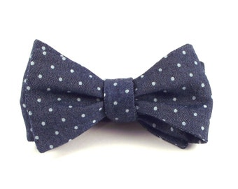 Indigo Bow Tie, Mens Blue Denim Chambray, Polka Dot - Traditional Self-Tie or Pre-Tied