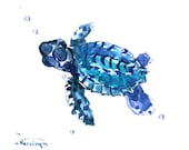 Sea Turtle , tortuoise 12 x 9 in, original watercolor painting, indigo blue children room nursery wall art sea world nautical beach house