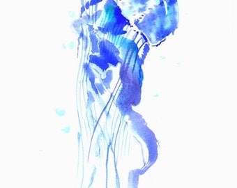 Artwork Blue Jellyfish painting, original watercolor 12 x 9 in, blue minimalist abstract wall art