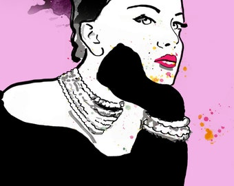 Pink Grace, Fashion illustration, print, poster