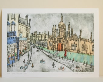 Kings College CAMBRIDGE ART, Kings Parade England Architecture, Signed Limited Edition Giclee print, Drypoint print, Clare Caulfield