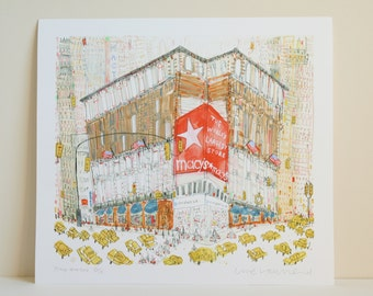 MACYS NEW YORK Print, Shopping Nyc, Herald Square Art, New York Watercolor Painting, Manhattan Taxis, New York City Print, Downtown Shops