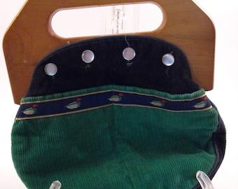 Vintage Jeanne Bouchever Handbag-Kelly Green/Navy Blue Ducks