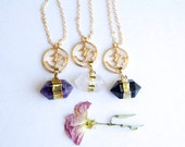Om raw crystal quartz necklace. Raw quartz. Om necklace.